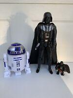 Star Wars Lot Of 3 Figures Darth Vader R2D2 Light Saber Hasbro Collectibles Toys
