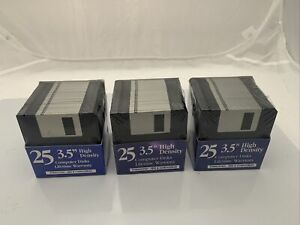 """3x 25 3.5"""" High Density Formated Computer disks for Mac Or Win - New and Sealed"""