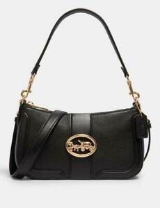 NWT Coach Black Georgie Baguette Shoulder Crossbody Leather Bag 5500 - New $328