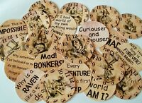 24 ALICE IN WONDERLAND 2 inch circles TEA PARTY TABLE DECORATIONS SCATTERS CRAFT