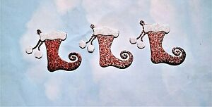 Felt die cut Christmas glitter stockings x 3 embellishments toppers