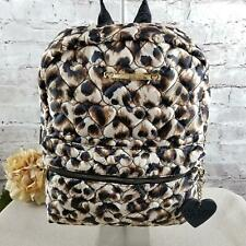 Betsey Johnson Backpack Travel Black/Brown Front Zip Pouch W/Adjustable Straps