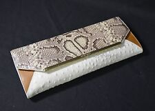 NWD! Brahmin Alexis Natural Anaconda Clutch/Shoulder/Evening Bag Multicolor