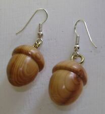 Wooden acorn earrings approx 2.5cm long made in Mid Wales