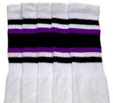 "22"" KNEE HIGH WHITE tube socks with BLACK/PURPLE stripes style 4 (22-127)"