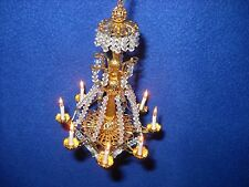 Crytal & brass electrified chandelier, Small Tiime,1:12 scale, #213 Josephine