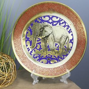 Natural Geo Wild Elephant Decorative Brass Accent Plate