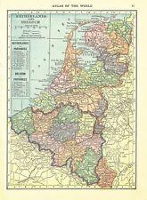 1911 Handy Atlas Vintage Map Pages - France on one side and Netherlands Belgi.