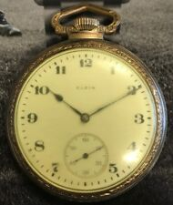 Vintage Elgin 1919 16 Size 15 Jewel Open Face Pocket Watch Runs but 4 Repair