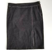 Lauren Ralph Lauren Jean Skirt Womens 8 A-Lined Black Side Zip Stretchy