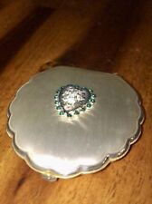 Beautiful Antique Vintage Elgin American Beauty Makeup Compact Green Jewel Nice!