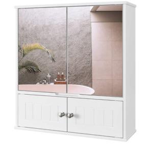 Bathroom Mirror Cabinet Double Doors Mirrored Cupboard Wall Mounted Storage