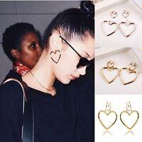 1Pair Women's Simple Dangle Gold Stainless Steel Ear Heart Hoop Earring Jewelry