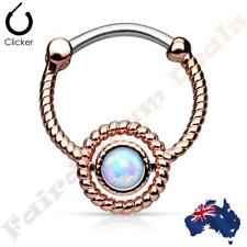 316L Surgical Steel Rose Gold Ion Plated Septum Ring Clicker With Opal
