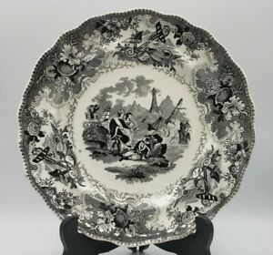 "Adams Staffordshire Black Transferware ""The Sea"" Pattern Circa 1835 Plate 9.5"""