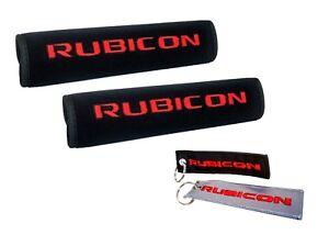 2X Black Neoprene Rubicon Logo Automotive Seat Belt Covers and Key chains