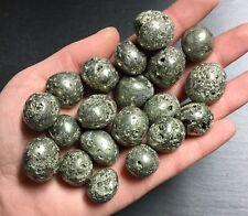 x2 Pyrite Polished Crystals 15-20mm Tumbled Stones Circular Solar Sacral Magic