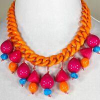 Fuschia, Orange & Turquoise Lucite Bib Necklace, One of a Kind