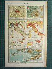 1921 MAP ~ ITALY ~ ROME ENVIRONS POPULATION CROPS AND INDUSTRIES NAPLES