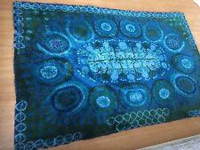 "LARGE Danish RYA Rug Abstract Blues Wool Verner Panton Ege Era Modern 6'2"" X 9'8"