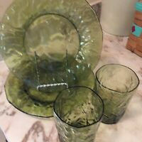 Morgantown Crinkle Glass Green Set Of Four Vintage Elegant Glass Pattern