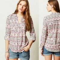Maeve Anthropologie Pink Islet Geometric Print Button Front Blouse Shirt Size S