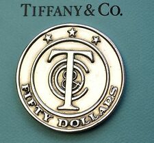 """Tiffany & Co. 1oz Sterling Silver 925 """"Tiffany Money"""" $50 Redeemable Gift Token"""