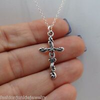 Filigree Cross Charm Necklace - 925 Sterling Silver - Pendant Faith Jewelry NEW