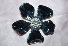 Petals Clear Crystals Silver Tone Metal Black Enamel Flower Brooch Pin Pendant