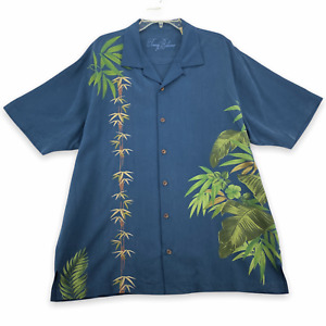 TOMMY BAHAMA Men's Short Sleeve Button Front Shirt Size L Large 100% Silk