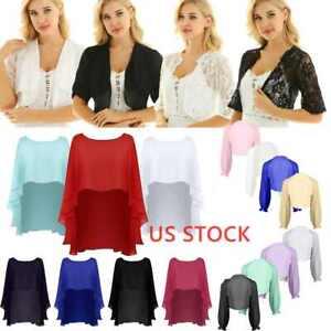 Plus Womens Long Sleeve Bolero Shrug Chiffon Lace Short Cardigan Cropped Top US