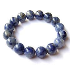 Natural Sodalite Gemstone Beads Bracelet Royal Blue White Meditation Yoga Chakra