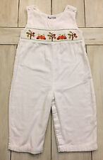 ROYAL CHILD Ivory Corduroy Smocked Fall Pumpkins Longall Romper ~ 18 Months ~