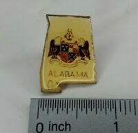 Vintage Alabama State Shaped Pin With State Coat of Arms