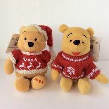 "Disney Store Winnie The Pooh Bean Plush (2) 8""- Winter Snowflake Knit Sweater"