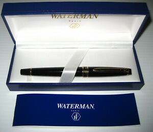 Vintage Waterman Paris France Black Gold Rollerball Pen Original Box and Manual
