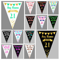 Personalised Birthday Bunting 13th 16th 18th 21st 30th 40th 50th 60th 70th 80th