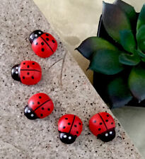 Fairy Garden Ladybug LOT OF 5 Dollhouse Florist Village Decor Miniature Red Bug