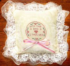 CROSS STITCH Satin Lace WEDDING PILLOW - WITH THIS RING I THEE WED -Ring Bearer