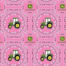 Springs ~ John Deere Tractor Pink Bandana Print ~ 100% Cotton Quilt Fabric BTY