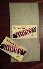 Vintage 1950 Sorry Wood Playing Pieces & Cards In Original Box w/ Game Board