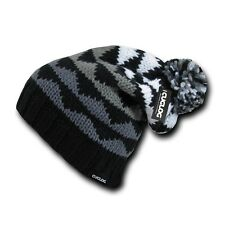 Black Gray White Multi Tone Warm Winter Ski Pom Pom Grey Knit Beanie Cap Hat