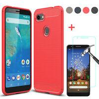 For Google Pixel 5 4a 4 3a 3 XL Fiber Carbon Silicone TPU Case/ Screen Protector