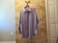 Pronto Uomo Long Sleeve Non Iron Dress Shirt Size 20 36/37 Tall