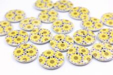 Yellow Sunflower Wood Button Floral Pattern Large Sweater Coat Craft 25mm 100pcs
