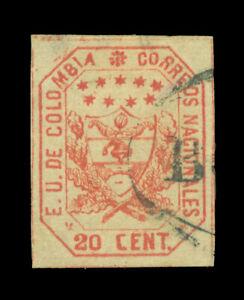 COLOMBIA 1863 Coat of Arms 20c red Scott# 26 used VF w/printing varieties