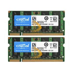 8GB Crucial 2X 4GB 4G DDR2-800MHz PC2-6400S 2RX8 200PIN SODIMM Laptop Memory RAM