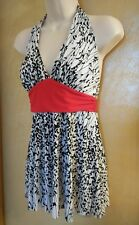 Forever red white black Halter Tunic Top w m/l