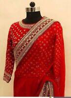 Red Saree Bollywood Heavy Georgette Designer soft sari Heavy Border Party Wear