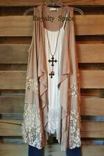 GYPSY SPIRIT BOHO VEST MOCHA SLEEVELESS LACE OPEN FRONT PLUS SIZE 2X